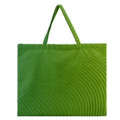 Green Wave Waves Line Zipper Large Tote Bag by Alisyart