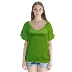 Green Wave Waves Line Flutter Sleeve Top