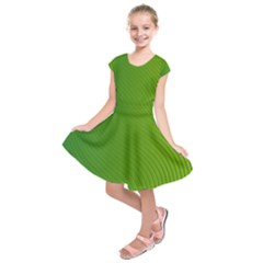 Green Wave Waves Line Kids  Short Sleeve Dress