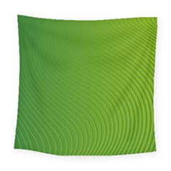 Green Wave Waves Line Square Tapestry (large)