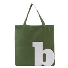 Square Alphabet Green White Sign Grocery Tote Bag by Alisyart