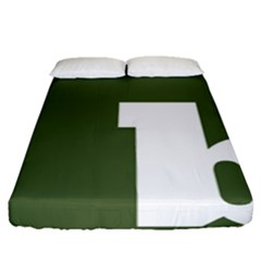 Square Alphabet Green White Sign Fitted Sheet (queen Size) by Alisyart