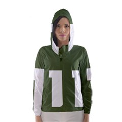 Square Alphabet Green White Sign Hooded Wind Breaker (women) by Alisyart