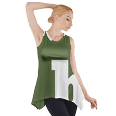 Square Alphabet Green White Sign Side Drop Tank Tunic by Alisyart