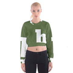 Square Alphabet Green White Sign Women s Cropped Sweatshirt by Alisyart