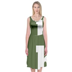 Square Alphabet Green White Sign Midi Sleeveless Dress by Alisyart