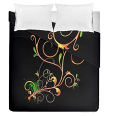 Flowers Neon Color Duvet Cover Double Side (queen Size)
