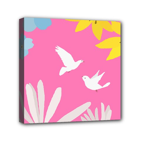 Spring Flower Floral Sunflower Bird Animals White Yellow Pink Blue Mini Canvas 6  X 6  by Alisyart