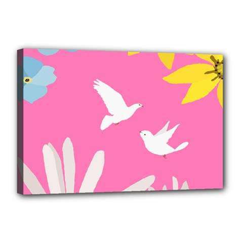 Spring Flower Floral Sunflower Bird Animals White Yellow Pink Blue Canvas 18  X 12