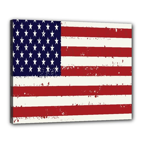 Flag United States United States Of America Stripes Red White Canvas 20  X 16  by Simbadda