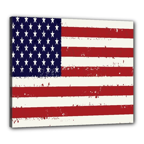 Flag United States United States Of America Stripes Red White Canvas 24  X 20  by Simbadda