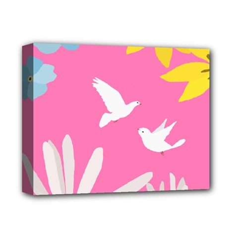 Spring Flower Floral Sunflower Bird Animals White Yellow Pink Blue Deluxe Canvas 14  X 11  by Alisyart