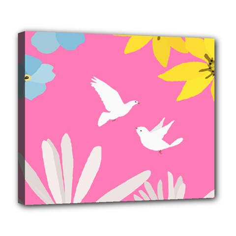 Spring Flower Floral Sunflower Bird Animals White Yellow Pink Blue Deluxe Canvas 24  X 20   by Alisyart