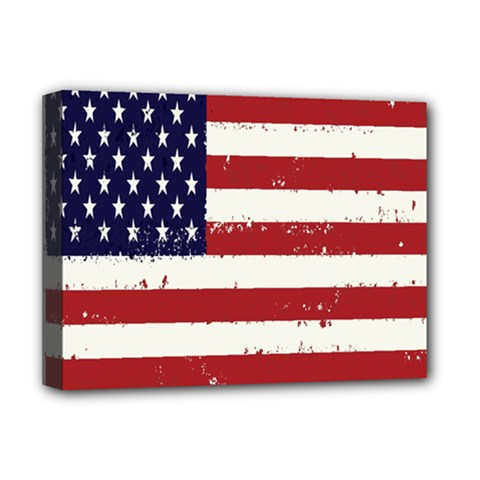 Flag United States United States Of America Stripes Red White Deluxe Canvas 16  X 12   by Simbadda