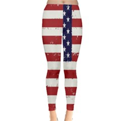 Flag United States United States Of America Stripes Red White Leggings  by Simbadda