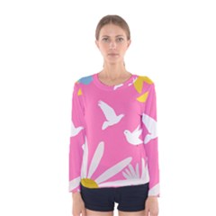 Spring Flower Floral Sunflower Bird Animals White Yellow Pink Blue Women s Long Sleeve Tee by Alisyart