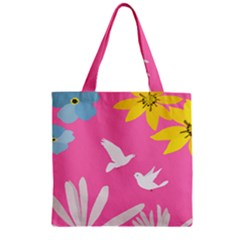 Spring Flower Floral Sunflower Bird Animals White Yellow Pink Blue Zipper Grocery Tote Bag by Alisyart