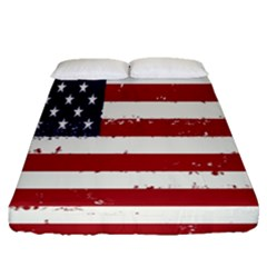 Flag United States United States Of America Stripes Red White Fitted Sheet (queen Size)