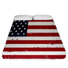 Flag United States United States Of America Stripes Red White Fitted Sheet (california King Size) by Simbadda