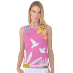 Spring Flower Floral Sunflower Bird Animals White Yellow Pink Blue Women s Basketball Tank Top by Alisyart