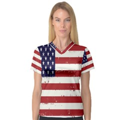 Flag United States United States Of America Stripes Red White Women s V Neck Sport Mesh Tee by Simbadda