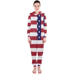 Flag United States United States Of America Stripes Red White Hooded Jumpsuit (ladies)  by Simbadda