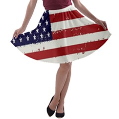 Flag United States United States Of America Stripes Red White A Line Skater Skirt by Simbadda