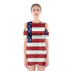 Flag United States United States Of America Stripes Red White Shoulder Cutout One Piece by Simbadda