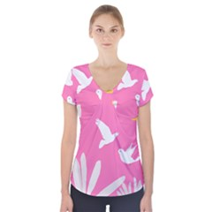 Spring Flower Floral Sunflower Bird Animals White Yellow Pink Blue Short Sleeve Front Detail Top by Alisyart
