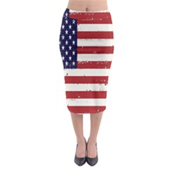 Flag United States United States Of America Stripes Red White Midi Pencil Skirt by Simbadda