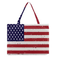 Flag United States United States Of America Stripes Red White Medium Zipper Tote Bag by Simbadda