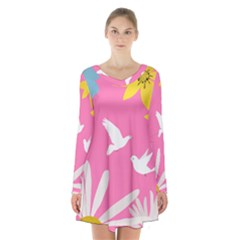 Spring Flower Floral Sunflower Bird Animals White Yellow Pink Blue Long Sleeve Velvet V-neck Dress by Alisyart