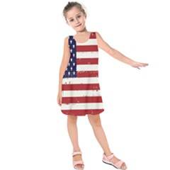 Flag United States United States Of America Stripes Red White Kids  Sleeveless Dress by Simbadda