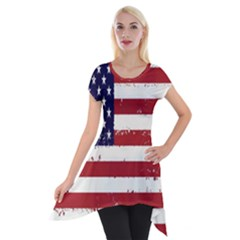 Flag United States United States Of America Stripes Red White Short Sleeve Side Drop Tunic by Simbadda