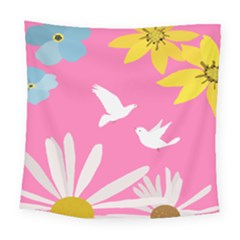 Spring Flower Floral Sunflower Bird Animals White Yellow Pink Blue Square Tapestry (large)