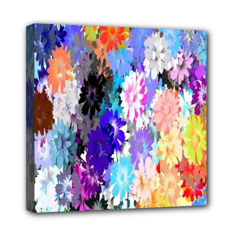 Flowers Colorful Drawing Oil Mini Canvas 8  X 8  by Simbadda