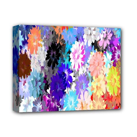 Flowers Colorful Drawing Oil Deluxe Canvas 14  X 11  by Simbadda