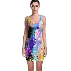 Flowers Colorful Drawing Oil Sleeveless Bodycon Dress by Simbadda