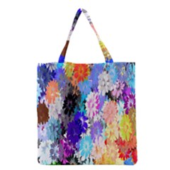 Flowers Colorful Drawing Oil Grocery Tote Bag by Simbadda