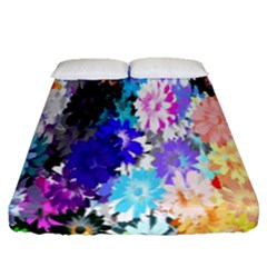 Flowers Colorful Drawing Oil Fitted Sheet (queen Size) by Simbadda