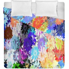 Flowers Colorful Drawing Oil Duvet Cover Double Side (king Size) by Simbadda