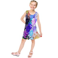 Flowers Colorful Drawing Oil Kids  Tunic Dress