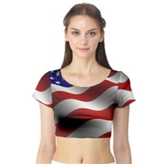Flag United States Stars Stripes Symbol Short Sleeve Crop Top (tight Fit)
