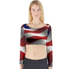 Flag United States Stars Stripes Symbol Long Sleeve Crop Top by Simbadda