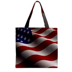 Flag United States Stars Stripes Symbol Zipper Grocery Tote Bag by Simbadda