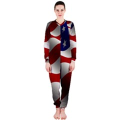Flag United States Stars Stripes Symbol Onepiece Jumpsuit (ladies)  by Simbadda
