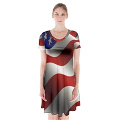 Flag United States Stars Stripes Symbol Short Sleeve V Neck Flare Dress