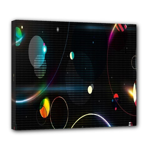 Glare Light Luster Circles Shapes Deluxe Canvas 24  X 20   by Simbadda
