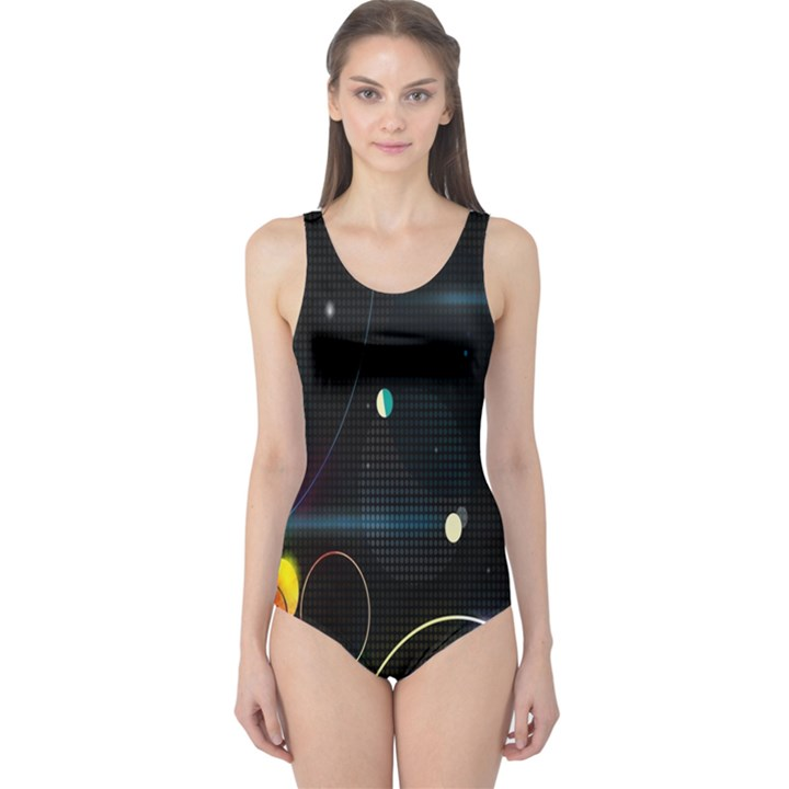 Glare Light Luster Circles Shapes One Piece Swimsuit