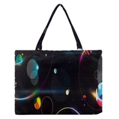 Glare Light Luster Circles Shapes Medium Zipper Tote Bag by Simbadda